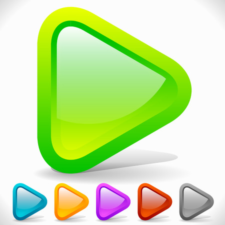 Rounded Play Buttons. Eps 10 Vector Graphics Vector Illustration
