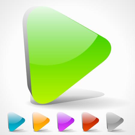 multi media: Tasti di riproduzione 3D con colori vivaci o Generico freccia verso destra