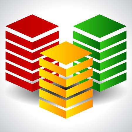 Tricolor Abstrakt Towers. EPS 10 Vektor-