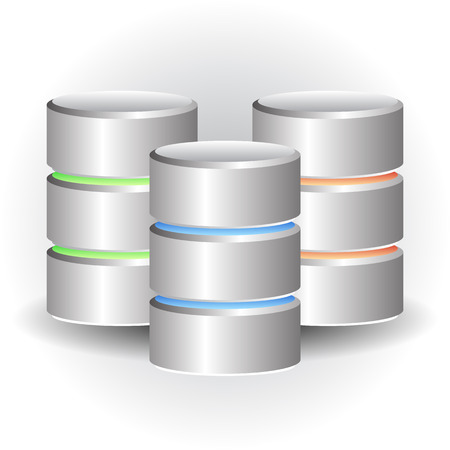 harddrive: Cylinder Icons. HDD, Webhosting Concepts Illustration