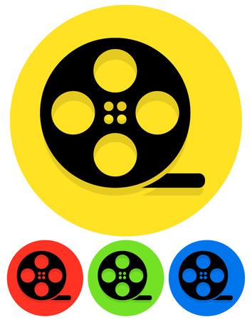 filmroll: Icons with Black Film Roll Symbols Illustration