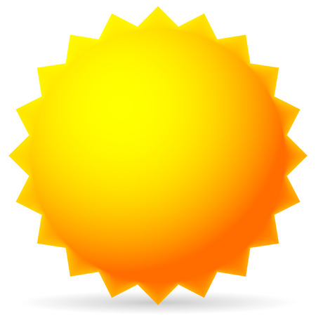 Bright Sun Isolated on White