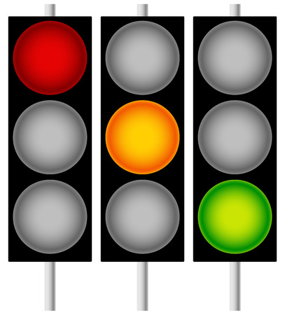 disallow: Traffic Lamps, Traffic Lights, Semaphores Isolated on White. Editable Vector Graphics