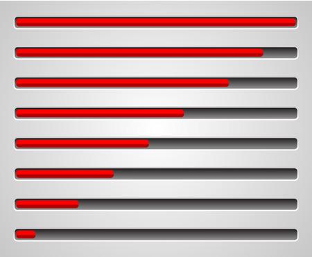 admeasure: Horizontal level indicators  progress or loading bars Illustration