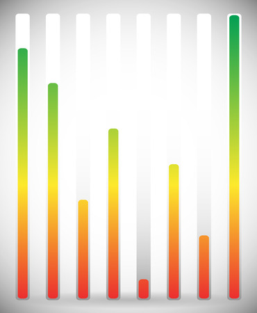 Vertical level indicator set with color code (Green at high level)
