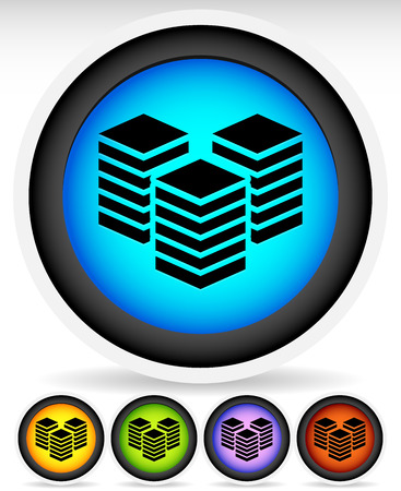 Icons with Layered Tower Symbols for Webhosting, Server, Database Concepts