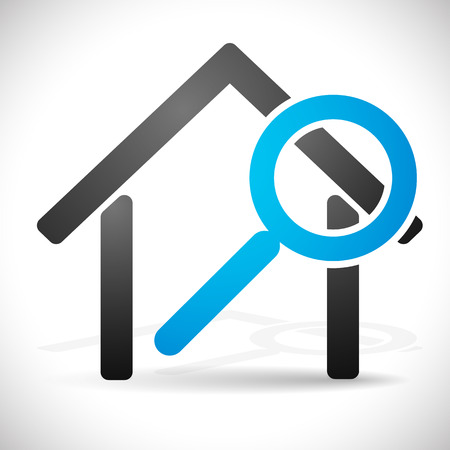 拡大鏡のある家。不動産、改修、家概念検索のアイコン。  イラスト・ベクター素材