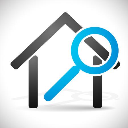 돋보기 하우스. 집 개념을 검색, 부동산, 업데이트에 대한 아이콘입니다.