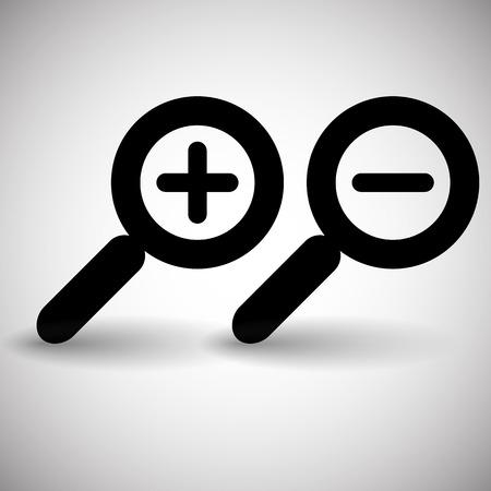 zoom in: Zoom simple, alejar, iconos de vidrio lupa, s�mbolos.