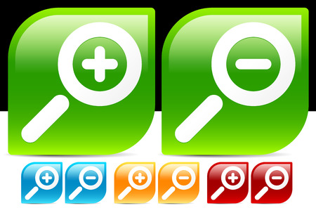 zoom out: Glossy magnifier Icons in various colors. Magnify. zoom in, zoom out icon set.