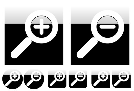 decreasing in size: Simple yet stylish magnifying icons with different shapes. Gloss effect with contrasty gradient.