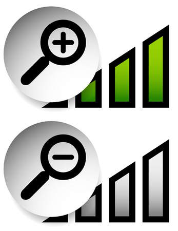 increments: Magnification indicators. Magnifiers with level indicators.