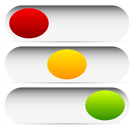 Power buttons, switches with 3 states. Simple UI, interface elements.