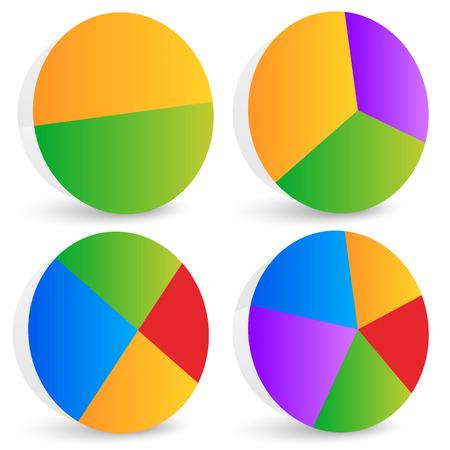 Pie Chart Vector. Pie Chart, Pie Graph Elements Illustration