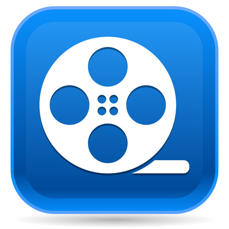 cine: Rounded Square Icon with Film Roll Symbol Illustration