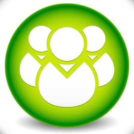comunity: Green Icon with Character Symbol. Icon with Group of 3 People for Gathering, Chat, Forum, Management or Membership Concepts