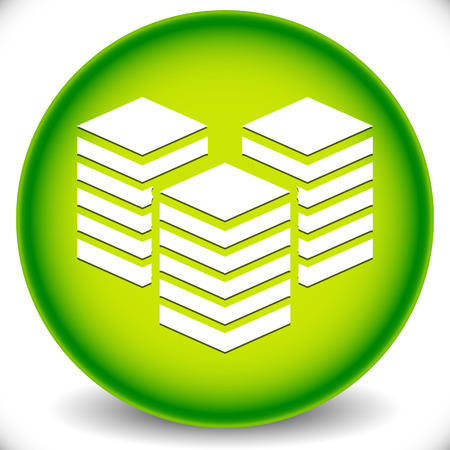 Icon with Layered Tower Symbol for Webhosting, Server, Database Concepts.