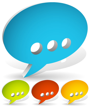 spech bubble: Set of 3d speech bubbles with ellipsis punctuation mark. Illustration