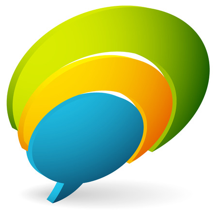spech bubble: Overlapping talk bubbles. Colorful icon for support, contact or chat concepts. Vector illustration. Illustration