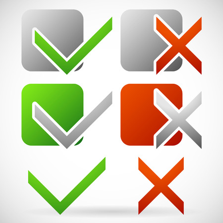 Set of Various Simple Check mark and Cross Symbols Illustration