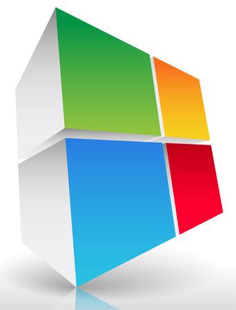 3d Colorful cube element Vector
