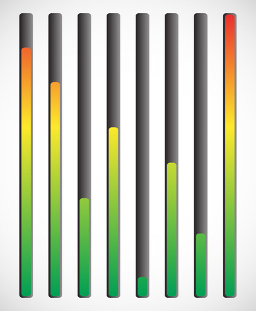 admeasure: Vertical level indicator set with color code (Red at high level)