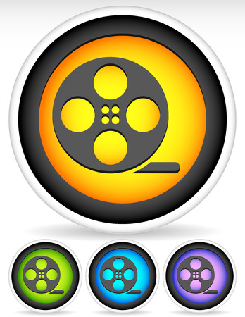 filmroll: Icon with Film Roll Symbol Illustration