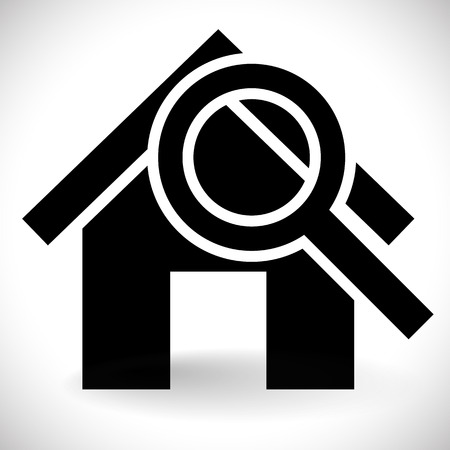 Home Inspection: House with Magnifier. Icon for real estate, renovation, searching for a house concepts.