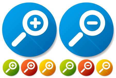 decreasing in size: Bright Colorful Magnifier  Magnifying Glass Buttons, Icons. Symbols castin diagonal shadows.