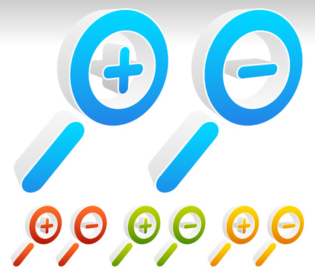 shrink: Three dimensional magnifier symbols, magnifier icons. 4 colors included. Illustration