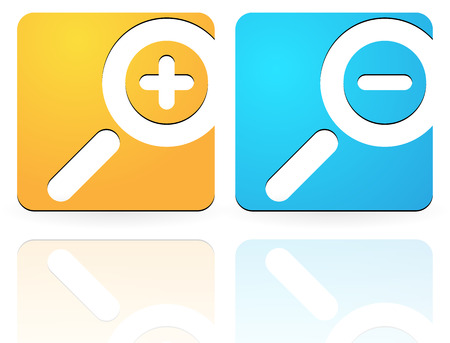 zoom out: Nice, Bright zoom in, zoom out icons with simple magnifying glass symbols.