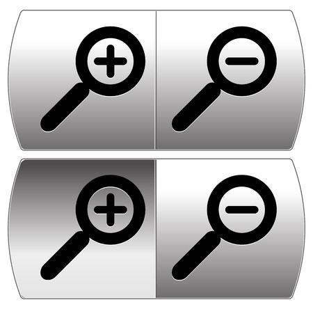 zoom in: Acercar, Alejar botones. IU plantilla de elemento
