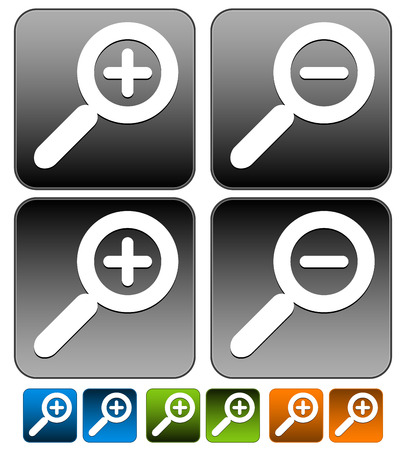 zoom in: Magnifier, Magnifying glass buttons, icons. Zoom in, zoom out. Pressed version included. Illustration