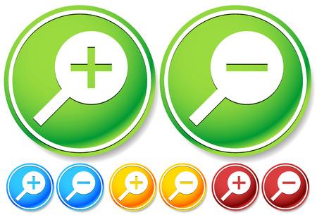 zoom in: C�mo acercar, alejar botones, iconos con colores brillantes