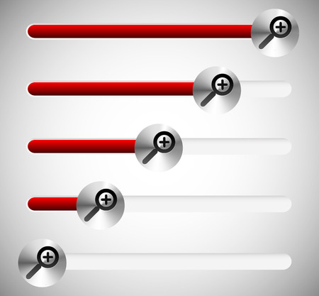 increments: Magnifying glass sliders, enlargement level indicators. Editable. Illustration
