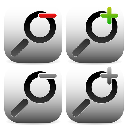 zoom in: Magnifier icon set with plus, minus symbols. Zoom in, zoom out icons.