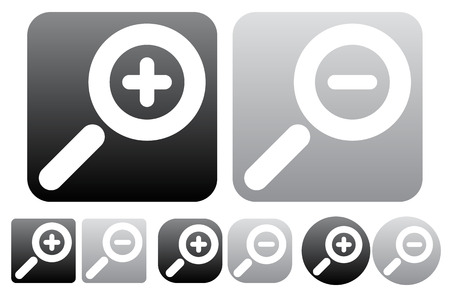 zoom out: Minimal zoom in, zoom out icons, buttons w white magnifying glass symbols