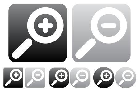 zoom in: Zoom Minimal, alejar iconos, botones de s�mbolos lupa w  blanco