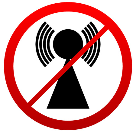 interference: No Signal Sign. Bad antenna, No Internet connection concepts. Jamming, Interference icon.