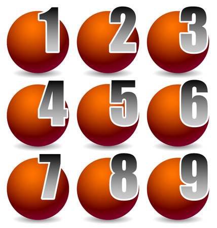 numerate: Numbering Elements from 1 to 9. Numbers Cut in Shaded Spheres with Radial Gradients