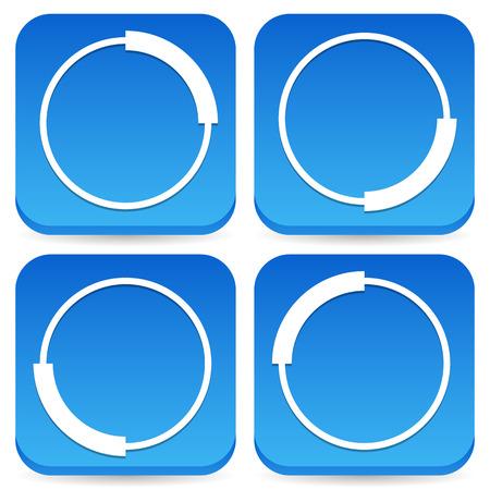 Circular preloader, buffer shapes, symbols. 4 step progress indicators.