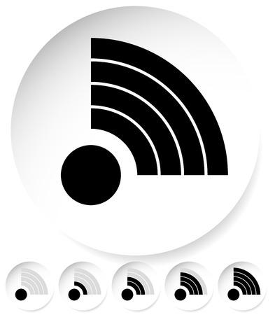 antena: Signal Stength Indicator Set. Internet, wifi, Wireless Connection.