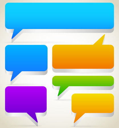 dialog baloon: Set of rectangular 3d talk, speech bubbles with blank space. Vector. Illustration
