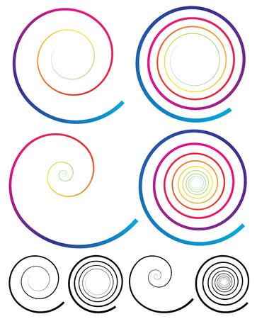 coil spring: Colorful Spiral Elements. Plain Black Version Included Illustration