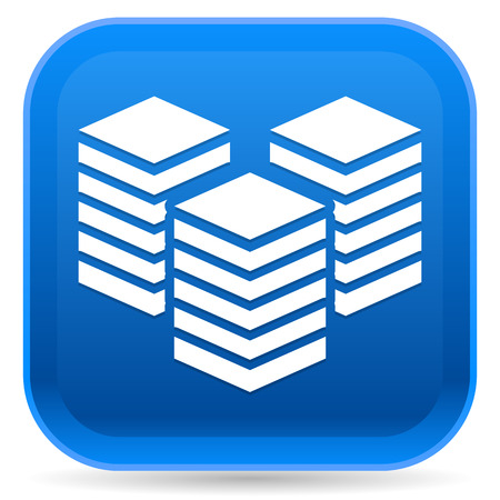 Icon with Layered Tower Symbol for Webhosting, Server, Database Concepts Illustration