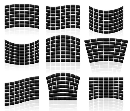 panes: Set of Flat Video Walls with distortion effects Illustration