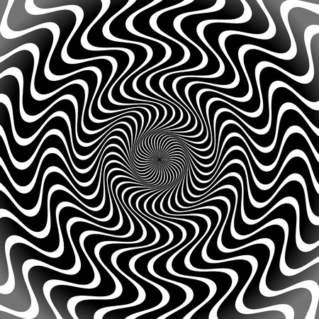 rippled: Grayscale, Black and White Radial Lines. Shapes Background with Wavy, Rippled Effect Illustration
