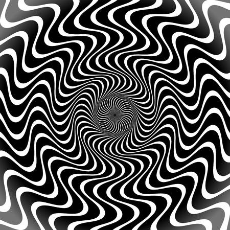 rippled: Scala di grigi, in bianco e nero linee radiali. Forme Sfondo con Wavy, Ondulato Effect