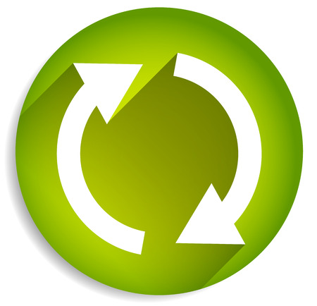 circulate: Spinning, rotating arrows in circle for rotation, circular motion, repetition or twist concepts. Green version.