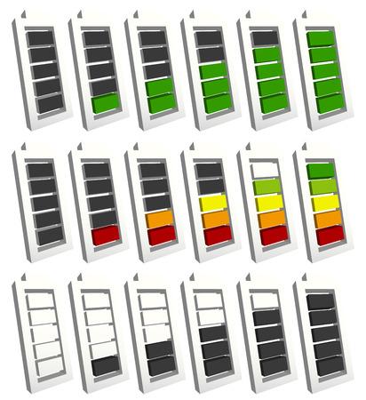 消費: バッテリ レベル インジケーターの記号は、低から高に設定。エネルギー、電荷は、シーケンスでバッテリー シンボルを充電します。消費電力、発電、保全。